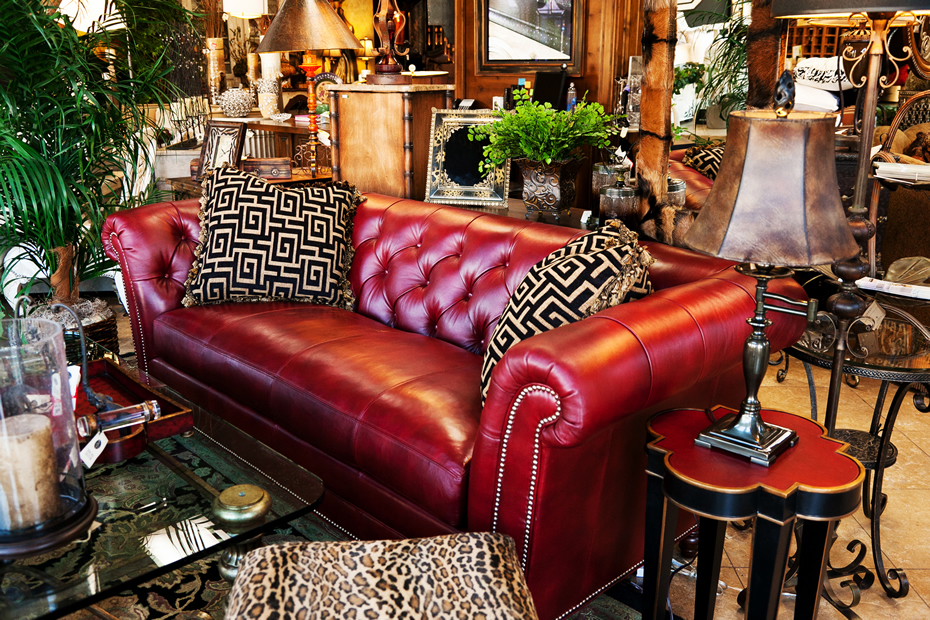 Henry Links Hand-Tufted Red Leather Sofa Has High Shelter Roll Arms and are Trimmed With Antique Brass Nailhead and Brownstone Finished Turned Legs