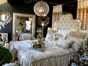 Elegant Bellisimo bedding with rhinestone tufted headboard.
