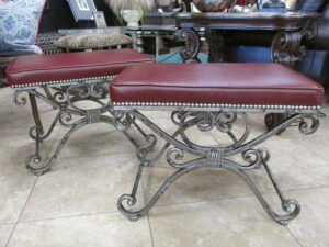 "New item of the week features these great new faux leather-antiqued pewter benches. Size 25"" x 16.5"" x 19"" . Just $275 each"