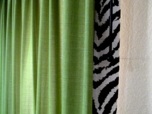 Zebra trim edge coordinates with zebra rug in adjacent room