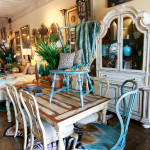 Vintage Dining Room Setting Displaying a Rustic Cottage Charm and Traditional Style