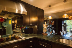 Espresso shaker style cabinet doors, Stainless steel Miele hood over induction cooktop, counter mount flat screen TV, verde marble counter tops and hand-blown glass pendant lights create contemporary interior design.