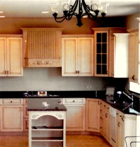 Custom design of all cabinetry, counter tops, plumbing fixtures and faucets, flooring, light fixtures and paint colors.