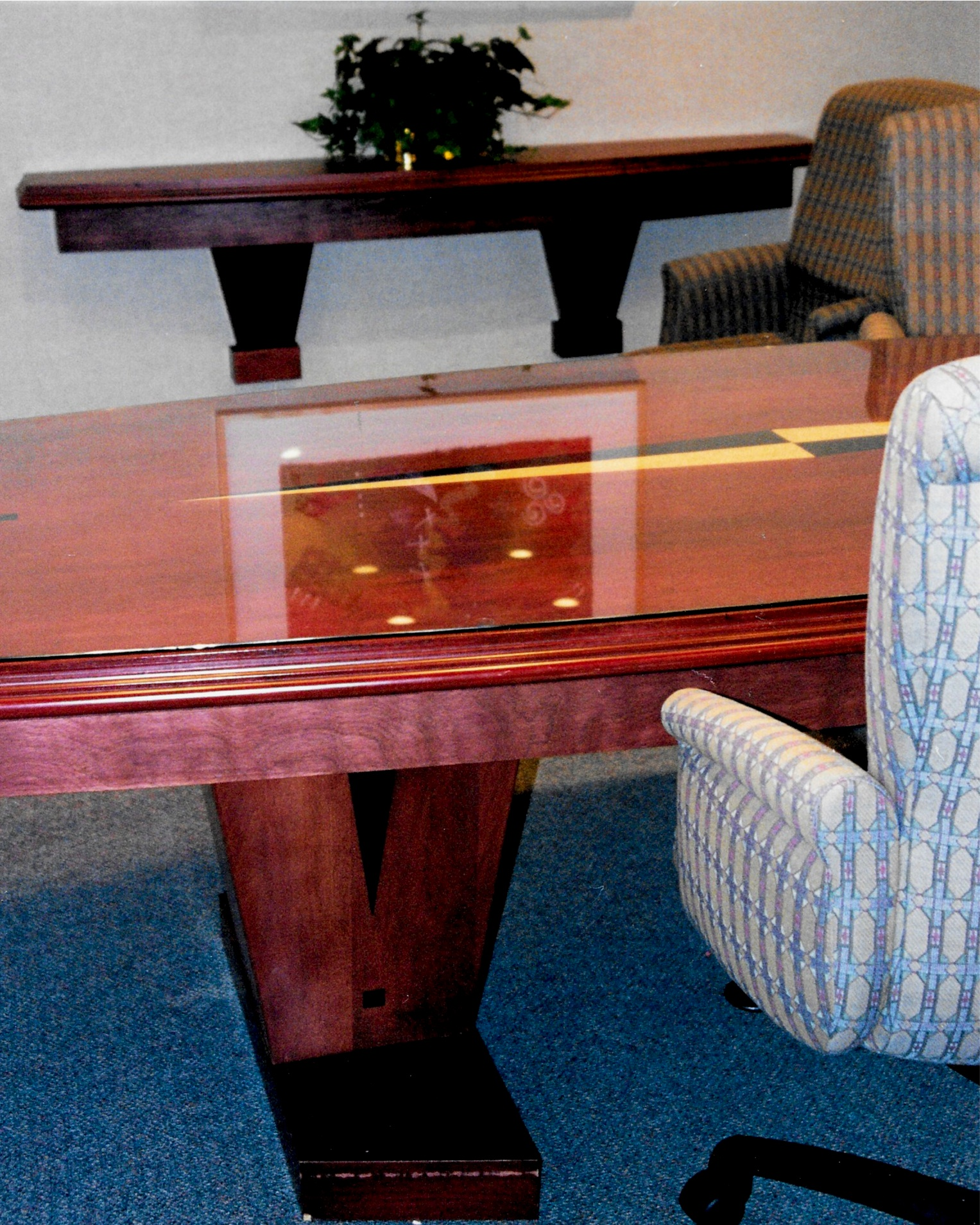 Custom Designed Conference Table, Wall Shelf And Chairs. Stained Cherry  Wood With Wedge And