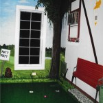 "Hand painted ""Caddy Shack"" themed mural around a mini-golf putting green. Themed interior design"