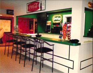 Concession stand themed bar with custom tile work.