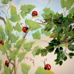 """Lady Bug"" hand painted mural with twig window valance."
